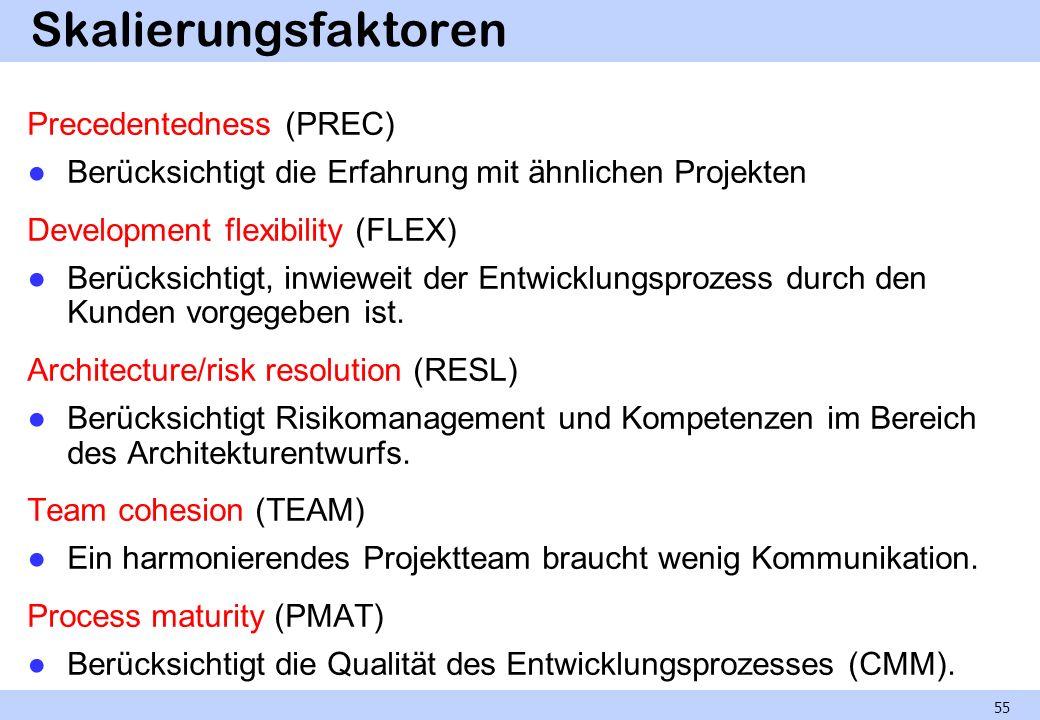 Skalierungsfaktoren Precedentedness (PREC) Berücksichtigt die Erfahrung mit ähnlichen Projekten Development flexibility (FLEX) Berücksichtigt, inwiewe