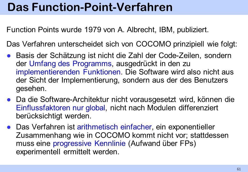 Das Function-Point-Verfahren Function Points wurde 1979 von A. Albrecht, IBM, publiziert. Das Verfahren unterscheidet sich von COCOMO prinzipiell wie