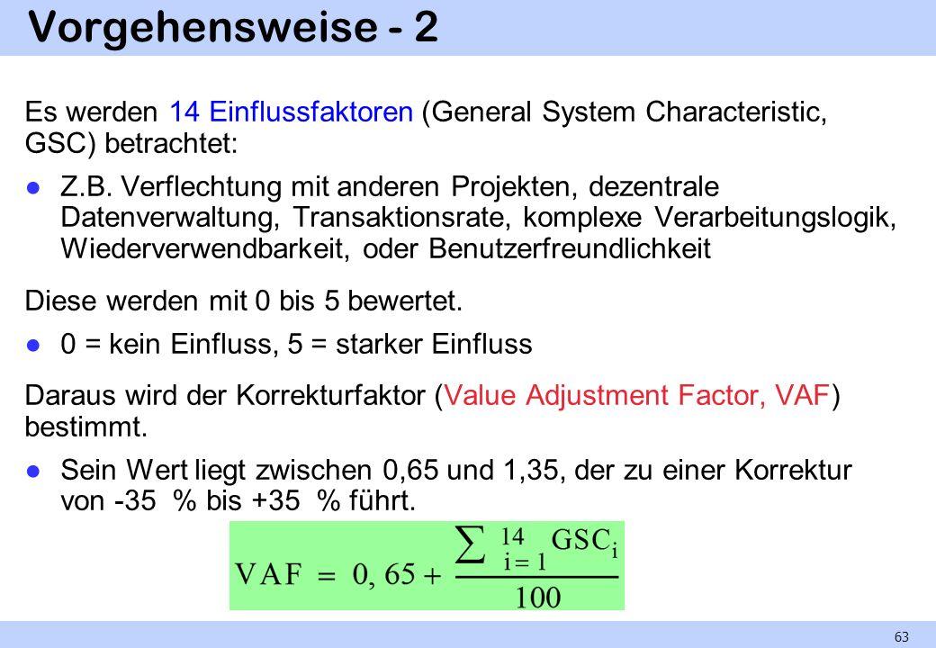 Vorgehensweise - 2 Es werden 14 Einflussfaktoren (General System Characteristic, GSC) betrachtet: Z.B. Verflechtung mit anderen Projekten, dezentrale