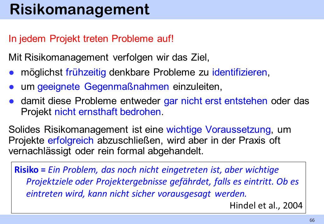 Risikomanagement In jedem Projekt treten Probleme auf! Mit Risikomanagement verfolgen wir das Ziel, möglichst frühzeitig denkbare Probleme zu identifi