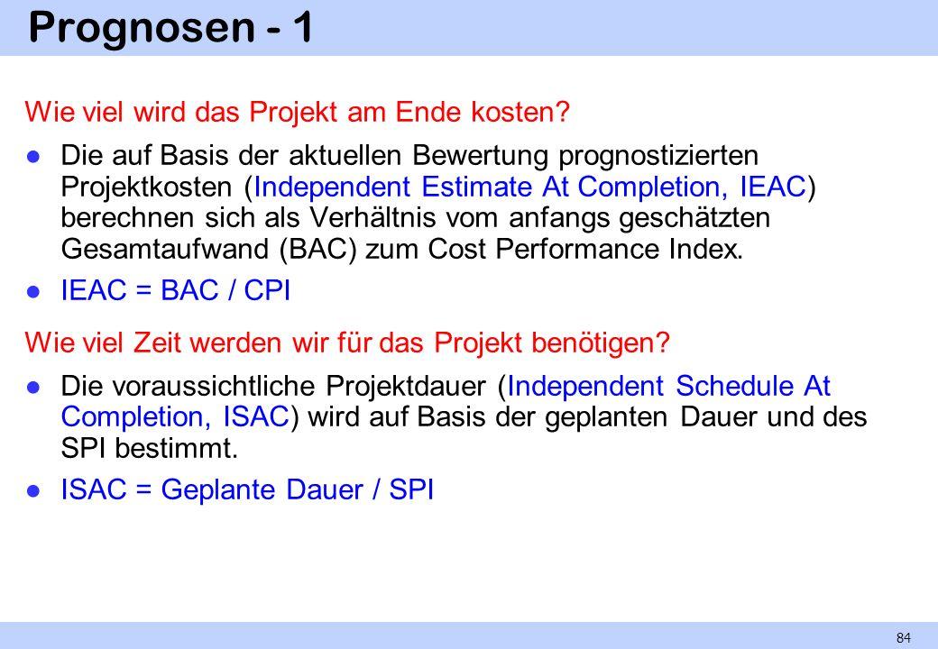 Prognosen - 1 Wie viel wird das Projekt am Ende kosten? Die auf Basis der aktuellen Bewertung prognostizierten Projektkosten (Independent Estimate At
