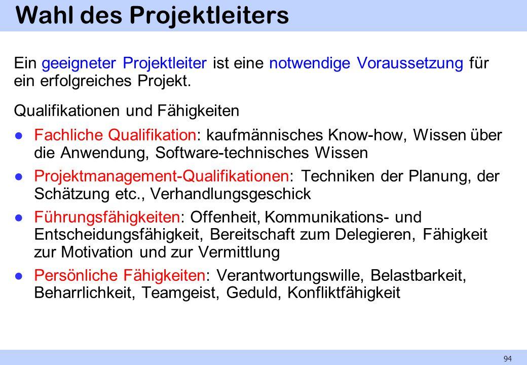 Wahl des Projektleiters Ein geeigneter Projektleiter ist eine notwendige Voraussetzung für ein erfolgreiches Projekt. Qualifikationen und Fähigkeiten