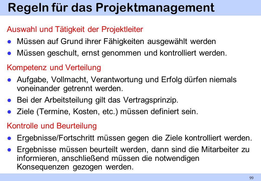 Regeln für das Projektmanagement Auswahl und Tätigkeit der Projektleiter Müssen auf Grund ihrer Fähigkeiten ausgewählt werden Müssen geschult, ernst g