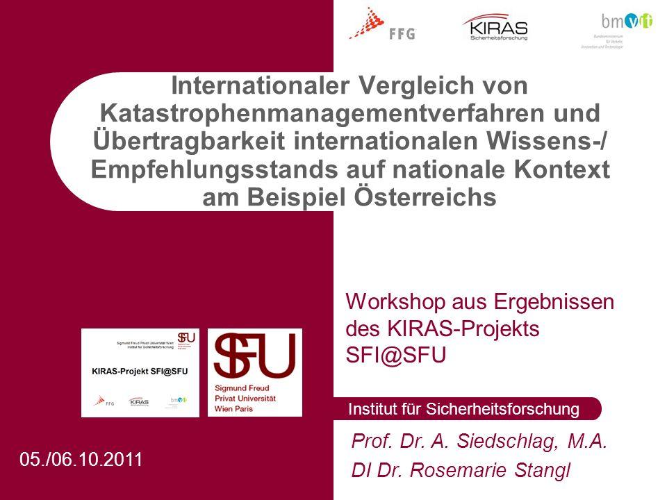 Institut für Sicherheitsforschung Prof. Dr. A. Siedschlag, M.A.