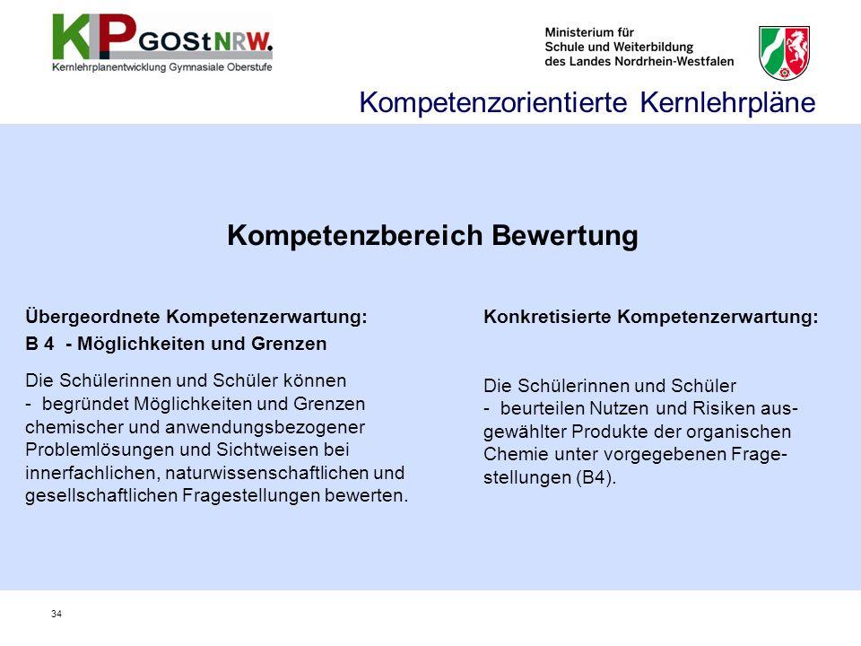 Kompetenzbereich Bewertung Übergeordnete Kompetenzerwartung: B 4 - Möglichkeiten und Grenzen Die Schülerinnen und Schüler können -begründet Möglichkei