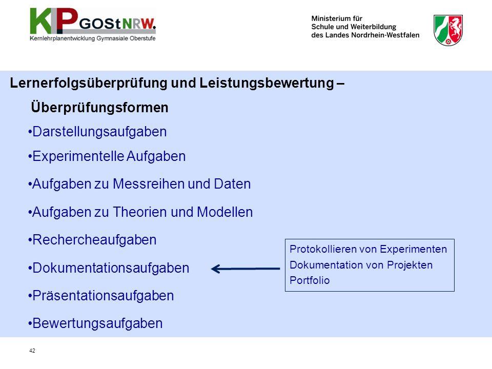 Lernerfolgsüberprüfung und Leistungsbewertung – Überprüfungsformen Darstellungsaufgaben Experimentelle Aufgaben Aufgaben zu Messreihen und Daten Aufga