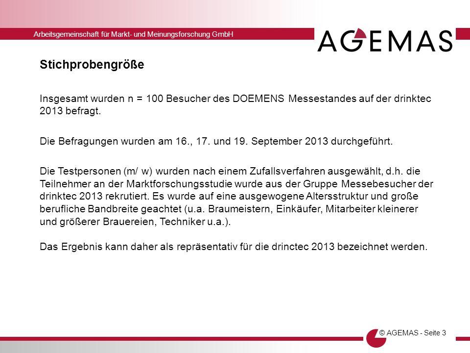 Arbeitsgemeinschaft für Markt- und Meinungsforschung GmbH © AGEMAS - Seite 3 Stichprobengröße Insgesamt wurden n = 100 Besucher des DOEMENS Messestand