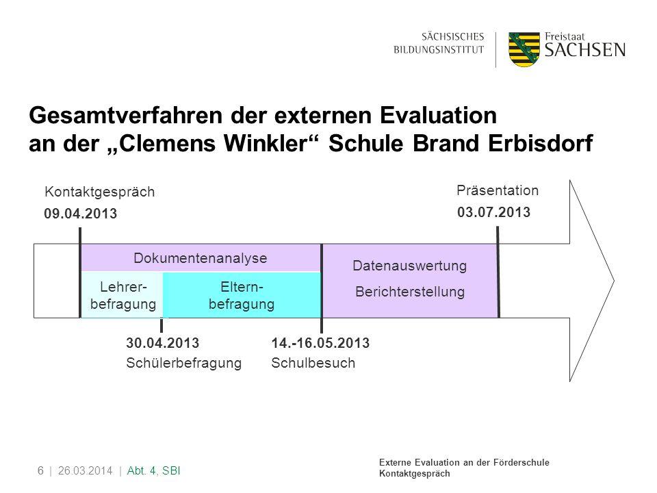 Externe Evaluation an der Förderschule Kontaktgespräch 6| 26.03.2014 | Abt. 4, SBI6 Gesamtverfahren der externen Evaluation an der Clemens Winkler Sch