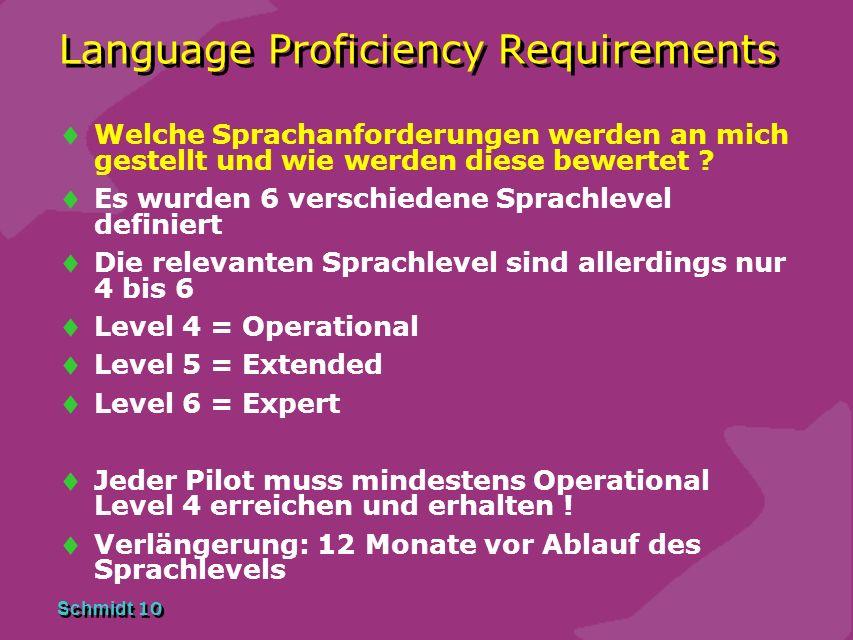 Schmidt 9 Language Proficiency Requirements Darf ich ohne LP Test ins benachbarte Ausland fliegen ? JEIN Warum ? Sofern im benachbarten Ausland nicht