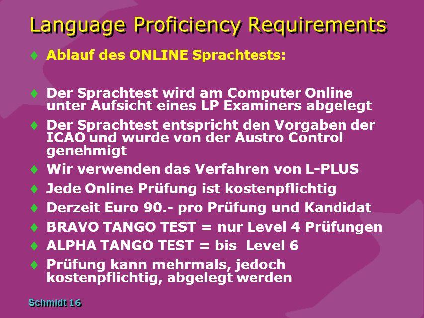 Schmidt 15 Language Proficiency Requirements Aus welchen Teilen besteht die Prüfung ? 1. Digitaler Online Test L-PLUS 2. Interview mit dem LP Examiner