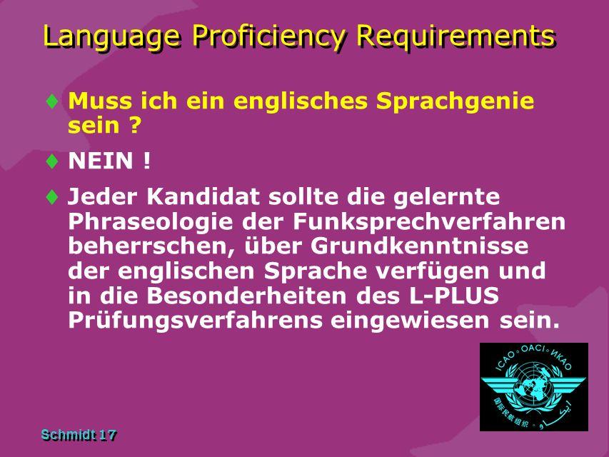 Schmidt 16 Language Proficiency Requirements Ablauf des ONLINE Sprachtests: Der Sprachtest wird am Computer Online unter Aufsicht eines LP Examiners a
