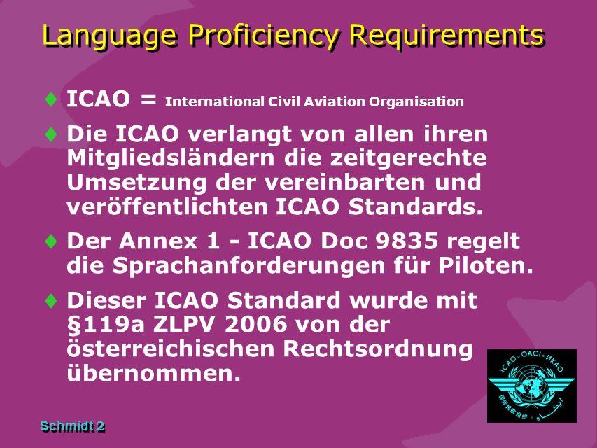 Schmidt 2 Language Proficiency Requirements ICAO = International Civil Aviation Organisation Die ICAO verlangt von allen ihren Mitgliedsländern die zeitgerechte Umsetzung der vereinbarten und veröffentlichten ICAO Standards.