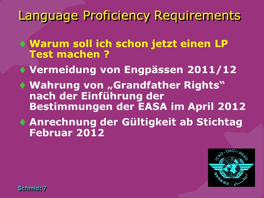 Schmidt 6 Language Proficiency Requirements Ab wann ist der LP Test verbindlich ? Für Inhaber einer bestehenden Lizenz ab Februar 2012 Für Flugschüler
