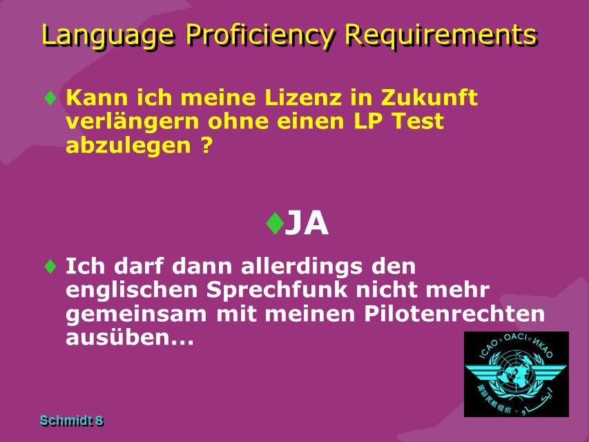 Schmidt 7 Language Proficiency Requirements Warum soll ich schon jetzt einen LP Test machen ? Vermeidung von Engpässen 2011/12 Wahrung von Grandfather