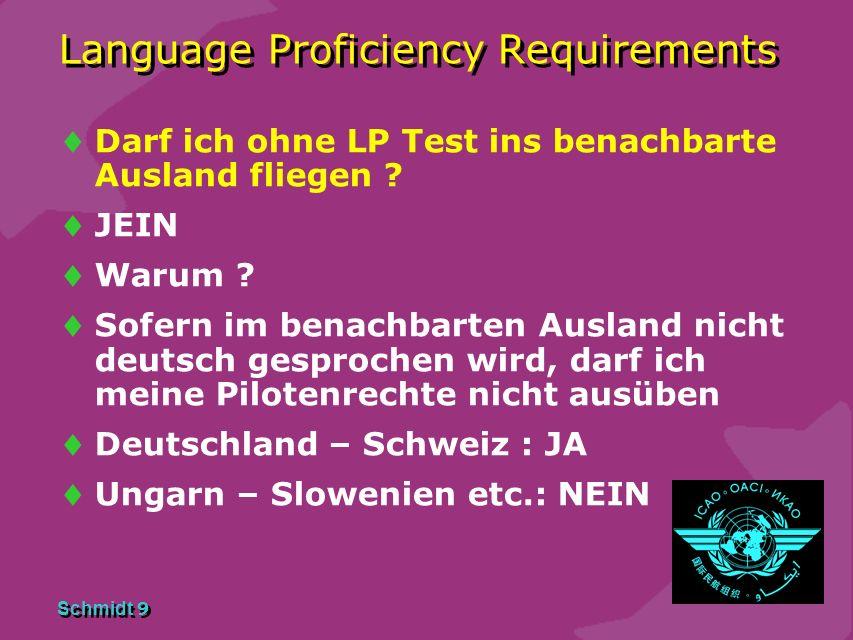 Schmidt 8 Language Proficiency Requirements Kann ich meine Lizenz in Zukunft verlängern ohne einen LP Test abzulegen ? JA Ich darf dann allerdings den