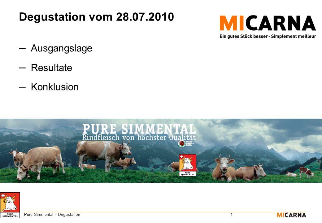 1 Pure Simmental – Degustation Degustation vom 28.07.2010 – Ausgangslage – Resultate – Konklusion