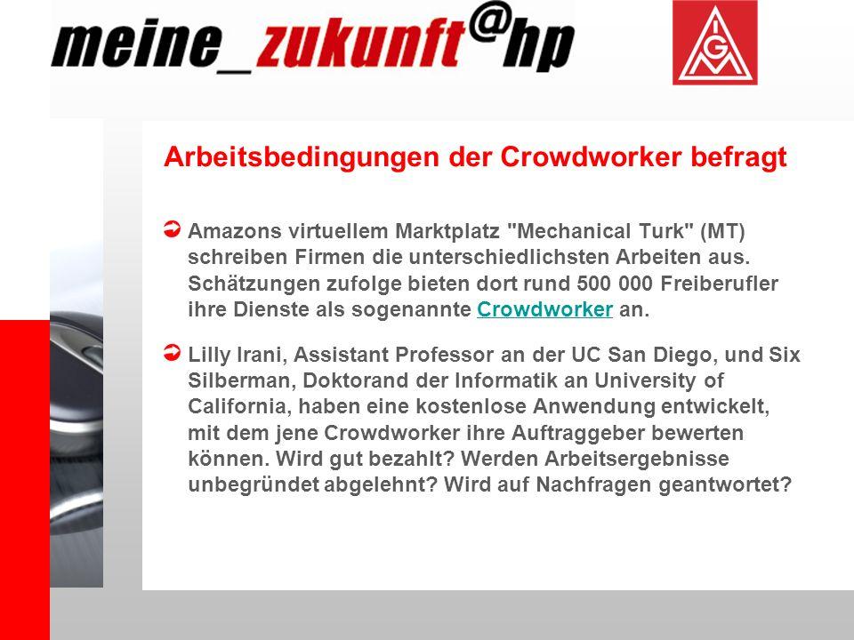 Arbeitsbedingungen der Crowdworker befragt Amazons virtuellem Marktplatz