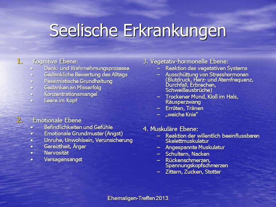 Ehemaligen-Treffen 2013 Seelische Erkrankungen 1. Kognitive Ebene: Denk- und WahrnehmungsprozesseDenk- und Wahrnehmungsprozesse Gedankliche Bewertung