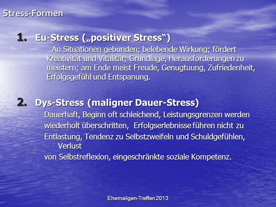 Ehemaligen-Treffen 2013Stress-Formen 1. Eu-Stress (positiver Stress) An Situationen gebunden; belebende Wirkung; fördert Kreativität und Vitalität; Gr