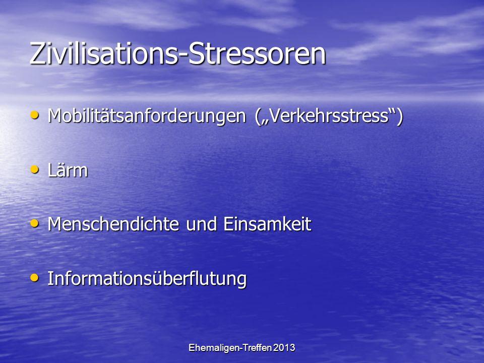 Ehemaligen-Treffen 2013 Zivilisations-Stressoren Mobilitätsanforderungen (Verkehrsstress) Mobilitätsanforderungen (Verkehrsstress) Lärm Lärm Menschend