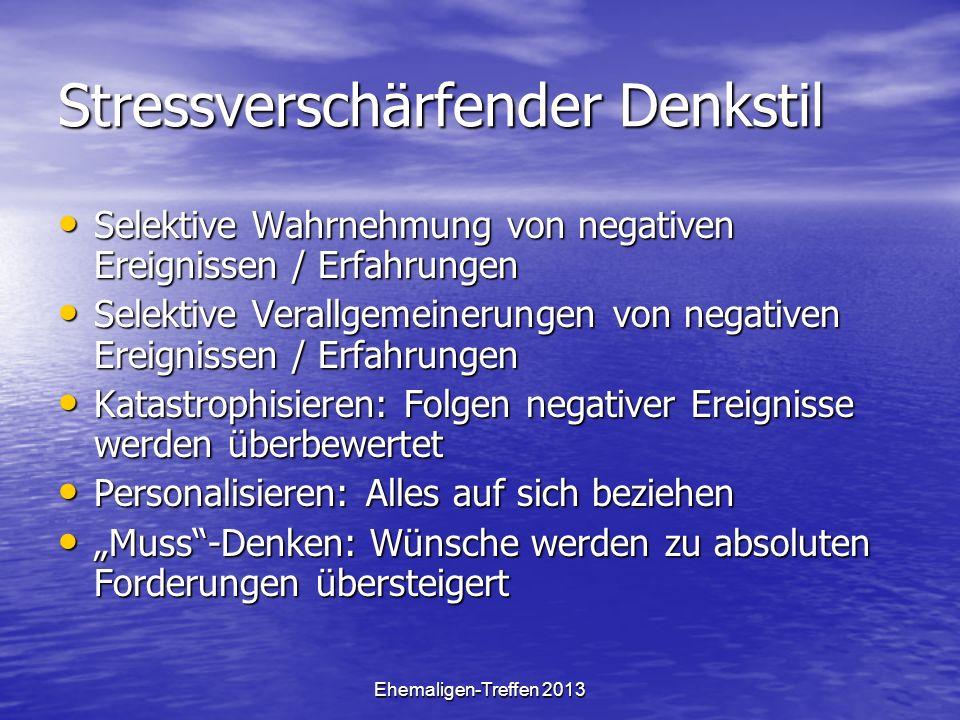 Ehemaligen-Treffen 2013 Stressverschärfender Denkstil Selektive Wahrnehmung von negativen Ereignissen / Erfahrungen Selektive Wahrnehmung von negative
