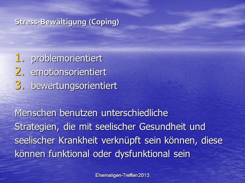 Ehemaligen-Treffen 2013 Stress-Bewältigung (Coping) 1. problemorientiert 2. emotionsorientiert 3. bewertungsorientiert Menschen benutzen unterschiedli