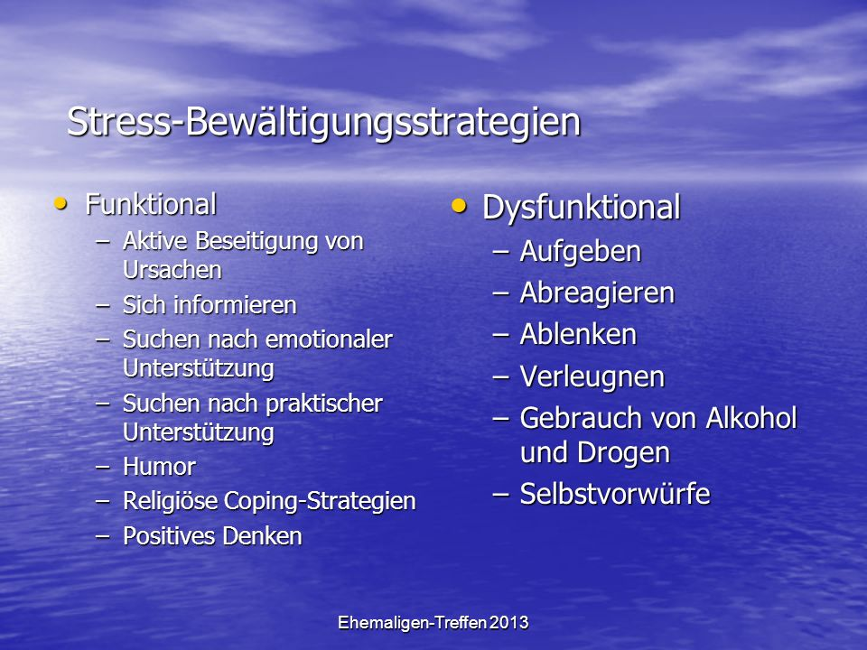 Ehemaligen-Treffen 2013 Stress-Bewältigungsstrategien Funktional Funktional –Aktive Beseitigung von Ursachen –Sich informieren –Suchen nach emotionale