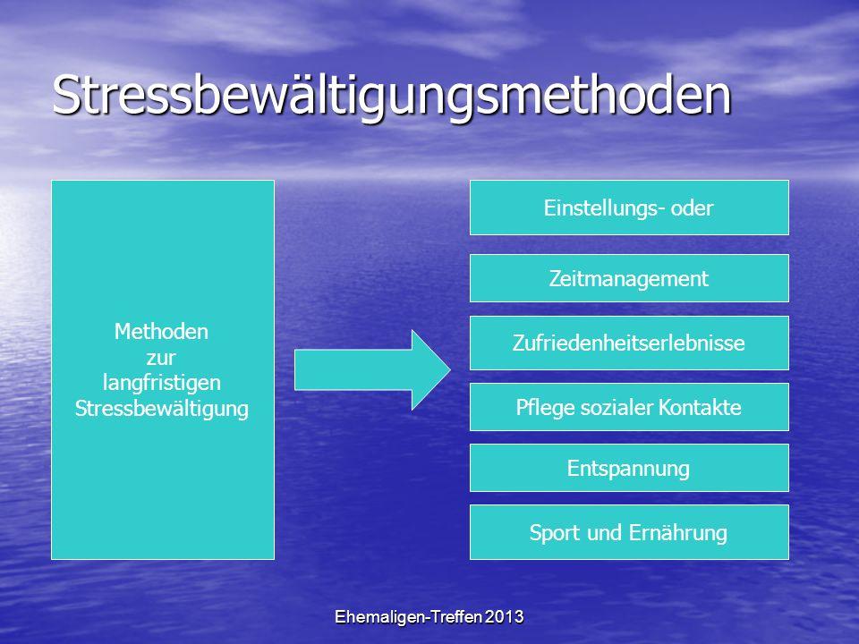 Ehemaligen-Treffen 2013 Stressbewältigungsmethoden Methoden zur langfristigen Stressbewältigung Einstellungs- oder Zeitmanagement Zufriedenheitserlebn