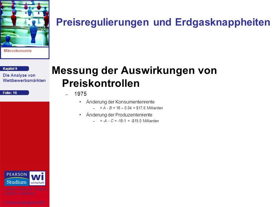 Kapitel 9 Mikroökonomie Autoren: Robert S. Pindyck Daniel L. Rubinfeld Die Analyse von Wettbewerbsmärkten © Pearson Studium 2009 Folie: 16 Messung der