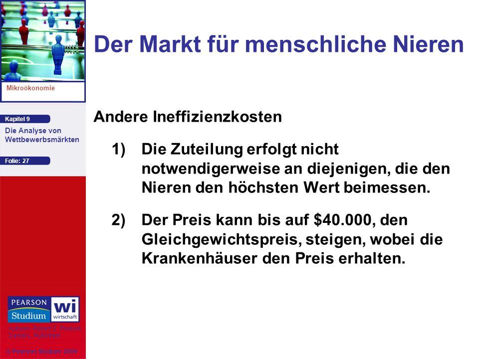 Kapitel 9 Mikroökonomie Autoren: Robert S. Pindyck Daniel L. Rubinfeld Die Analyse von Wettbewerbsmärkten © Pearson Studium 2009 Folie: 27 Andere Inef