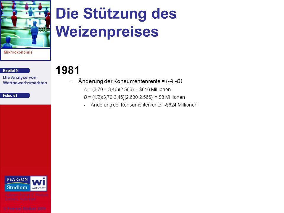 Kapitel 9 Mikroökonomie Autoren: Robert S. Pindyck Daniel L. Rubinfeld Die Analyse von Wettbewerbsmärkten © Pearson Studium 2009 Folie: 51 Die Stützun