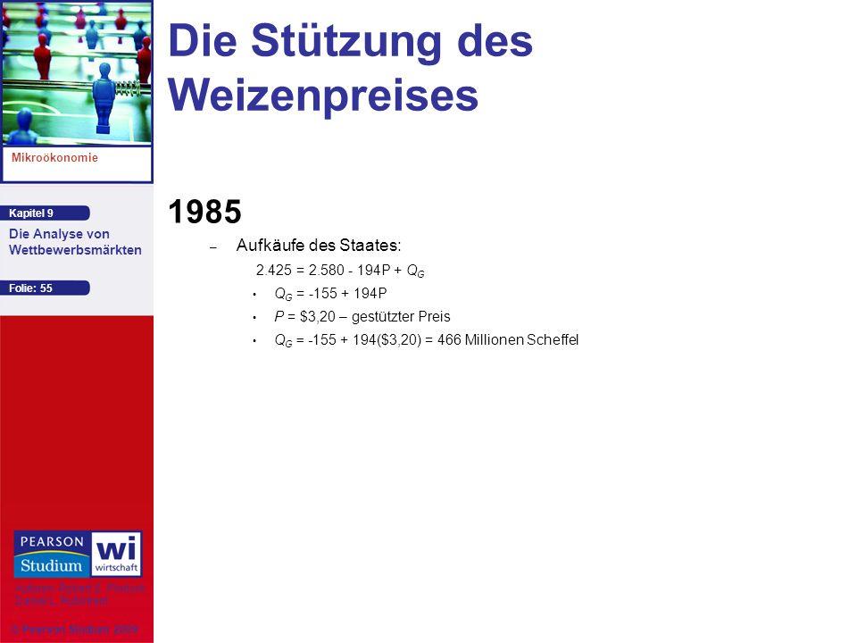 Kapitel 9 Mikroökonomie Autoren: Robert S. Pindyck Daniel L. Rubinfeld Die Analyse von Wettbewerbsmärkten © Pearson Studium 2009 Folie: 55 Die Stützun