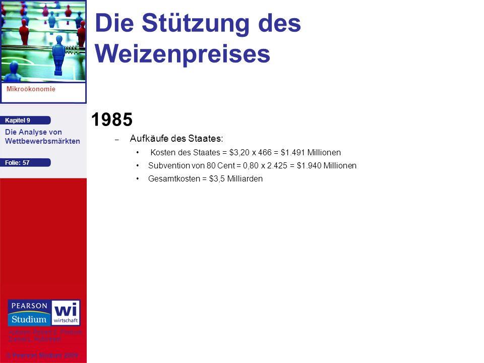 Kapitel 9 Mikroökonomie Autoren: Robert S. Pindyck Daniel L. Rubinfeld Die Analyse von Wettbewerbsmärkten © Pearson Studium 2009 Folie: 57 Die Stützun