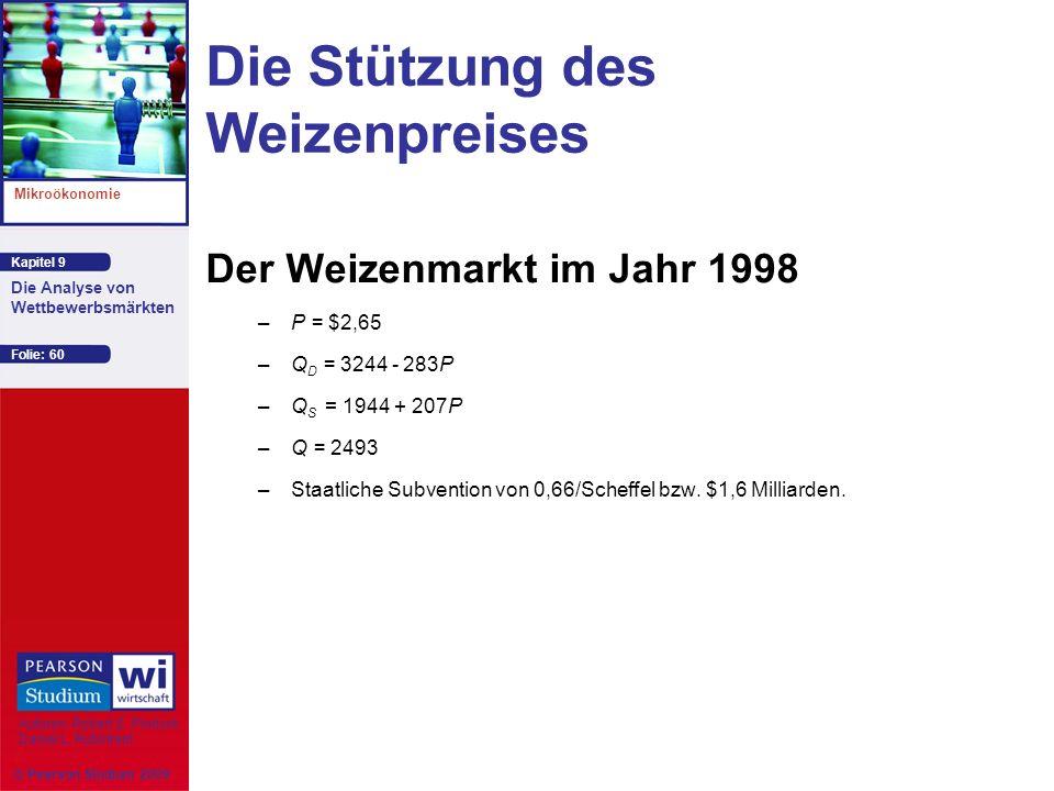 Kapitel 9 Mikroökonomie Autoren: Robert S. Pindyck Daniel L. Rubinfeld Die Analyse von Wettbewerbsmärkten © Pearson Studium 2009 Folie: 60 Die Stützun