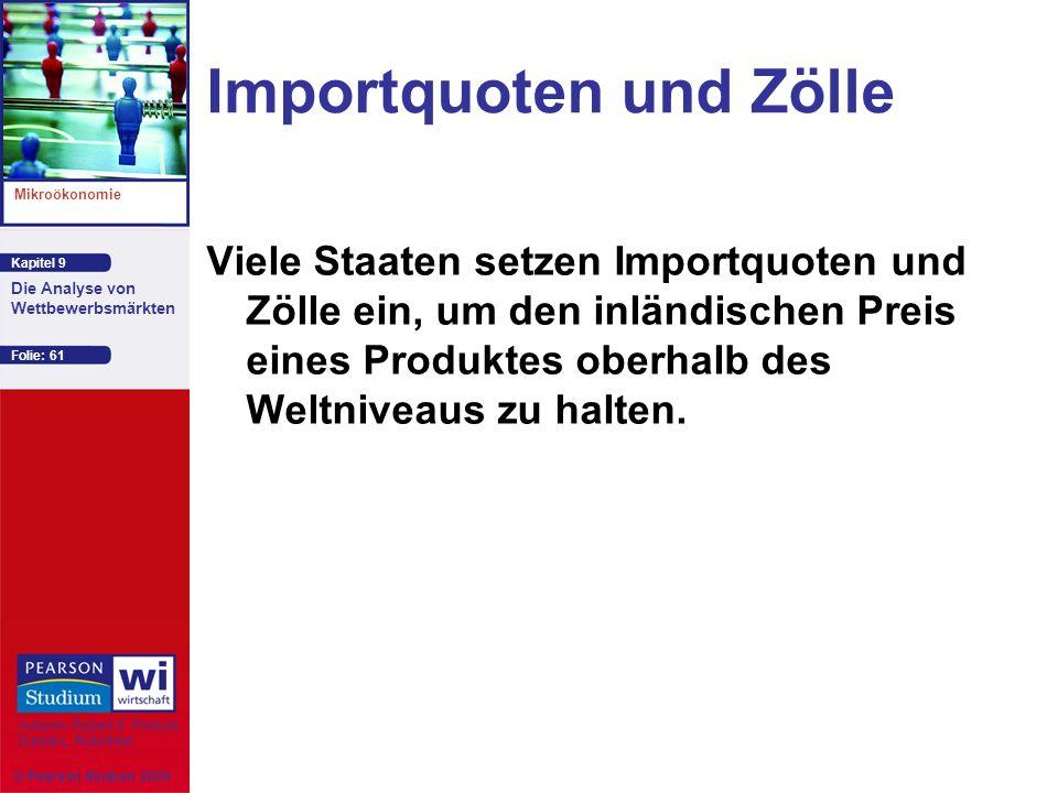 Kapitel 9 Mikroökonomie Autoren: Robert S. Pindyck Daniel L. Rubinfeld Die Analyse von Wettbewerbsmärkten © Pearson Studium 2009 Folie: 61 Importquote