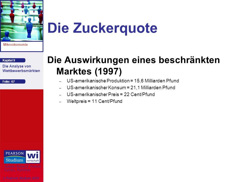Kapitel 9 Mikroökonomie Autoren: Robert S. Pindyck Daniel L. Rubinfeld Die Analyse von Wettbewerbsmärkten © Pearson Studium 2009 Folie: 67 Die Zuckerq