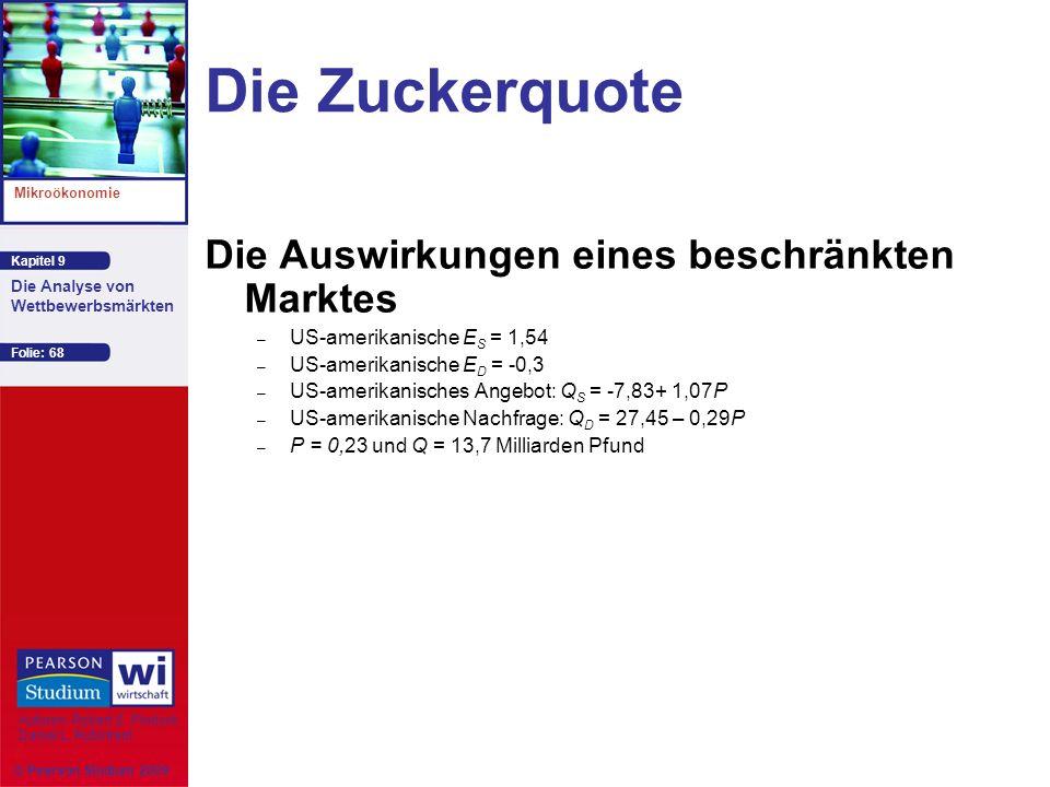 Kapitel 9 Mikroökonomie Autoren: Robert S. Pindyck Daniel L. Rubinfeld Die Analyse von Wettbewerbsmärkten © Pearson Studium 2009 Folie: 68 Die Zuckerq