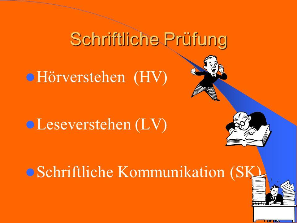 Schriftliche Prüfung Hörverstehen (HV) Leseverstehen (LV) Schriftliche Kommunikation (SK)