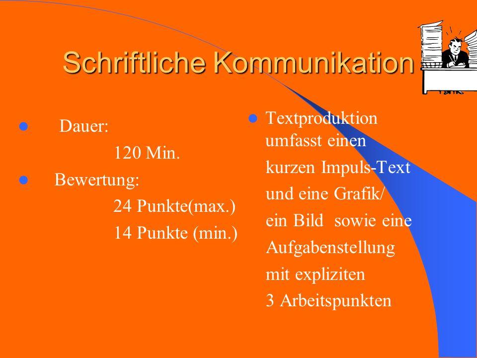 Schriftliche Kommunikation Dauer: 120 Min. Bewertung: 24 24 Punkte(max.) 14 14 Punkte (min.) Textproduktion umfasst einen kurzen Impuls-Text und eine