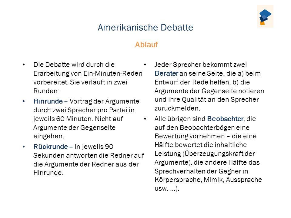 Amerikanische Debatte Die Debatte wird durch die Erarbeitung von Ein-Minuten-Reden vorbereitet. Sie verläuft in zwei Runden: Hinrunde – Vortrag der Ar