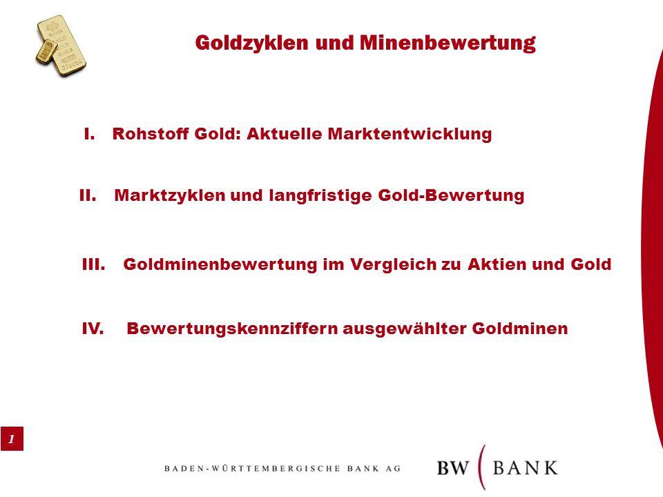 1 Goldzyklen und Minenbewertung I. Rohstoff Gold: Aktuelle Marktentwicklung II. Marktzyklen und langfristige Gold-Bewertung III. Goldminenbewertung im
