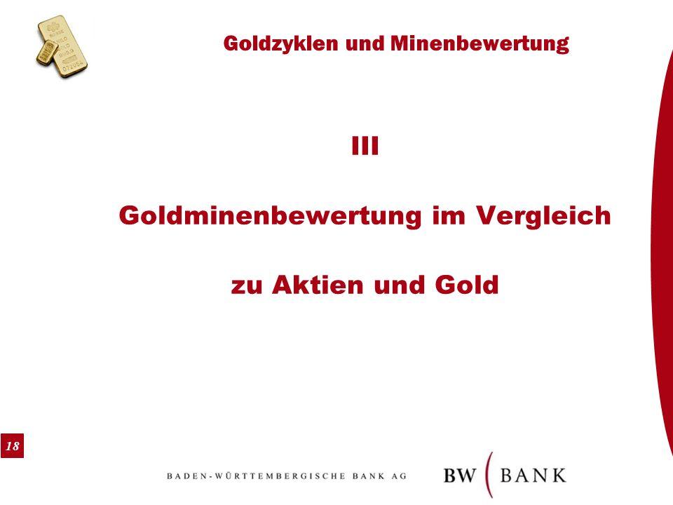18 Goldzyklen und Minenbewertung III Goldminenbewertung im Vergleich zu Aktien und Gold