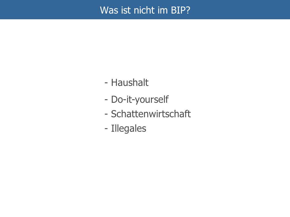 Was ist nicht im BIP? - Haushalt - Schattenwirtschaft - Do-it-yourself - Illegales