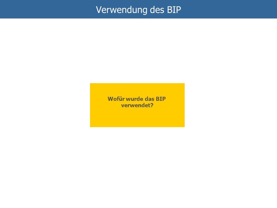 Verwendung des BIP Wofür wurde das BIP verwendet?