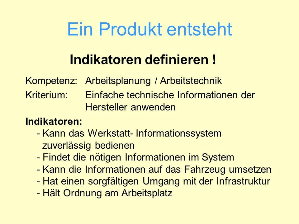 Ein Produkt entsteht Indikatoren definieren ! Kompetenz: Arbeitsplanung / Arbeitstechnik Kriterium: Einfache technische Informationen der Hersteller a