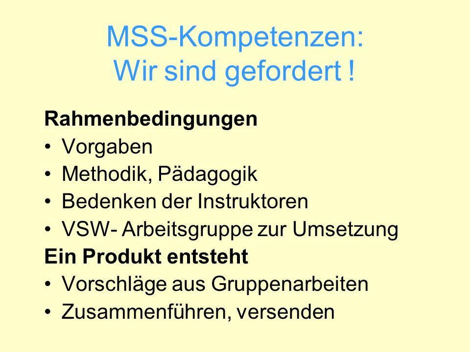 MSS-Kompetenzen: Wir sind gefordert ! Rahmenbedingungen Vorgaben Methodik, Pädagogik Bedenken der Instruktoren VSW- Arbeitsgruppe zur Umsetzung Ein Pr