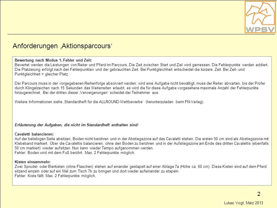 Lukas Vogt, März 2013 2 Anforderungen Aktionsparcours Bewertung nach Modus 1, Fehler und Zeit: Bewertet werden die Leistungen von Reiter und Pferd im
