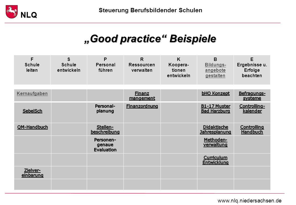 Steuerung Berufsbildender Schulen NLQ www.nlq.niedersachsen.de NLQ Good practice Beispiele SebeiSch - Kathmann F Schule leiten S Schule entwickeln P P