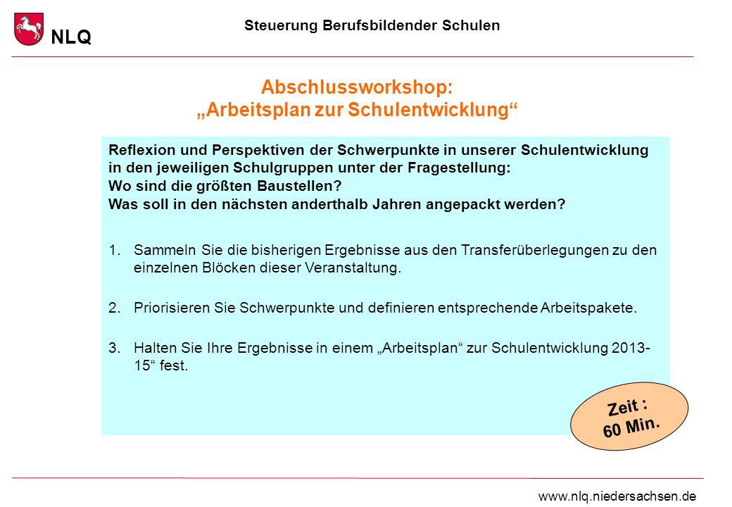 Steuerung Berufsbildender Schulen NLQ www.nlq.niedersachsen.de Abschlussworkshop: Arbeitsplan zur Schulentwicklung Reflexion und Perspektiven der Schw