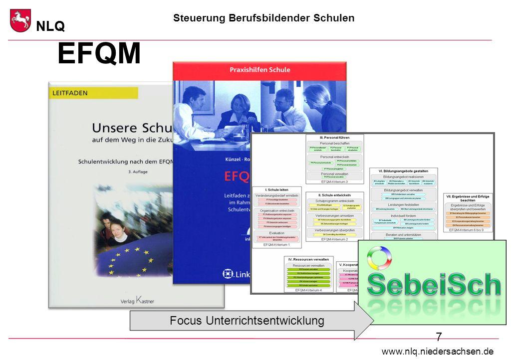 Steuerung Berufsbildender Schulen NLQ www.nlq.niedersachsen.de NLQ 7 EFQM Focus Unterrichtsentwicklung